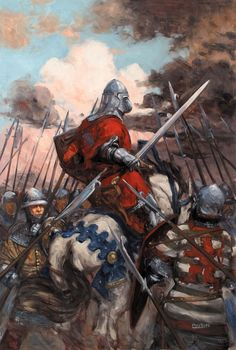 French knight surrounded by English billmen, Hundred Years War