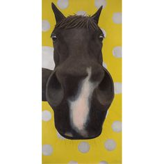 Funny Horse Painting - Large Black Horse Painting (Oil) w/ Green and Silver Polka Dots- 48 x 24 Inches - 10% Benefits Horse Rescue