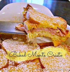 Baked Monte Cristo Sandwiches - instead of frying each sandwich individually bake them all together in a casserole dish. Baked Monte Cristo Sandwiches - instead of frying each sandwich individually bake them all together in a casserole dish. French Toast Sandwich, Monte Cristo Sandwich, Sammy, Wrap Sandwiches, Baked Sandwiches, Perfect Breakfast, Sandwich Recipes, Sandwich Ideas, Sweet And Salty