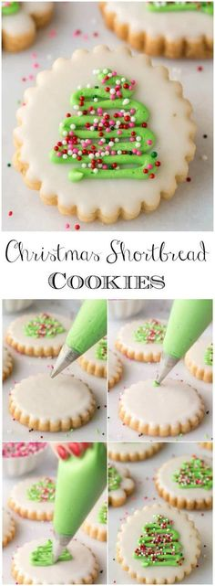 Christmas shortbread cookies with icing. With a super simple decorating technique, these fun, festive and super delicious Christmas Shortbread Cookies look like they came from a fine baking shop! Christmas Tree Cookies, Christmas Sweets, Christmas Cooking, Holiday Cookies, Holiday Desserts, Holiday Baking, Holiday Recipes, Christmas Shortbread Cookies, Christmas Parties