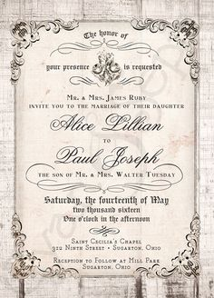Printable Wedding Invitation  5x7  Antique by CyanAndSepia on Etsy, $18.00