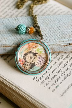 Wise owl.bohemian altered art,long charm necklace. tiedupmemories