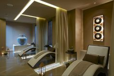 Architecture, Luxurious Day Spa Interior with Clean and Wood Accent: Spa Room With Waves Sofa Chairs