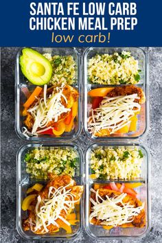 With cilantro lime cauliflower rice and taco-seasoned chicken breast, these Santa Fe meal prep bowls have just 8 g net carbs, yet still fill you up. Easy Ketogenic Meal Plan, Easy Healthy Meal Prep, Easy Meals, Healthy Recipes, Keto Meal, Healthy Eats, Lunch Recipes, Keto Recipes, Frugal Recipes