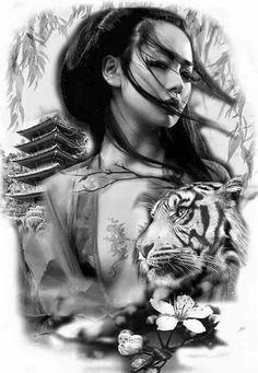 50 Amazing Geisha Tattoos Designs and Ideas For Men And Women Los mejores tatuajes de geishas Geisha Tattoos, Geisha Tattoo Design, Bild Tattoos, Body Art Tattoos, Sleeve Tattoos, Cool Tattoos, Men Tattoos, Samurai Tattoo, Samurai Art