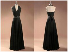 V Neckless Chiffon Black (ANY COLOR inc WHITE) $89 Long Prom Dress Graduation Gown 2015,Party Dress,Sepical Occassion Dress
