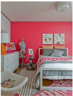 instead of grey do browns with it with all tan walls with one coral wall