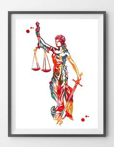 Lady Justice Art Print Justice Symbol Watercolor Law Corporate Art Themis Greek Goddess of Justice with Blindfold Sword Balance Justice Symbol, Justice Tattoo, Lady Justice, Law And Justice, Law Office Decor, Office Inspo, Desenho Tattoo, Emblem, Watercolor Print
