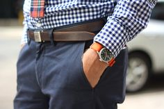 Madras tie on gingham. Watch by O.