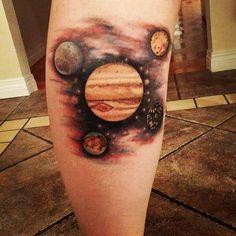 New tattoo!!! Look how pretty!! #space #spacetattoo #jupiter #jupitertattoo #planet #planettattoo #jupitersmoons #ganymede #ganymedetattoo #io #iotattoo #europa #europatattoo #callisto #callistotattoo #tattoo #tattoo2015 #adrenalinevancity #legtattoo #calftattoo #lookatmytattoogoddammit
