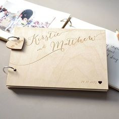 A uniquely engraved personalised wedding guest book, in a stylish calligraphic design.Accentuate your guest book by adding a bespoke mini heart, engraved for extra detail with up to a maximum of 25 characters, including spaces. Our range of Twig Pens are also available to add to your memory book, with an option for engraved personalisation or an area that can be left blank for you to personalise yourself, as a unique optional extra! The two front and back sheets of quality, coloured paper…