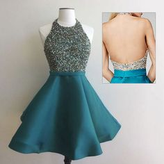 Halter Peacock Homecoming Dress, Open Back Mini Homecoming Dress, Satin Homecoming Dress with Beads and Crystal,Short Homecoming Dresses