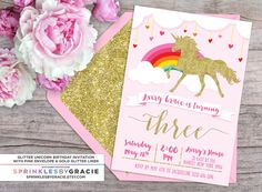 Magical Glitter Unicorn Birthday Party Invitation with Free Shipping or DIY Printable by SprinklesByGracie on Etsy https://www.etsy.com/listing/266008321/magical-glitter-unicorn-birthday-party