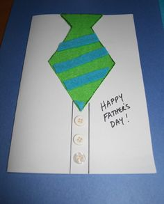 Fathers Day Tie Card. With paper, felt or fabric, your kids will love creating their very own neckties for dad for this cute Necktie Father's day card. Our provided template makes this Father's Day craft even easier to put together and with lots of personal touches Dad is sure to love his Father's day gift.