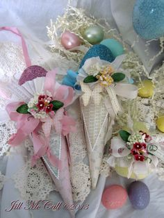 Victorian Easter Cones by Jill McCall for Paper Whimsy Inspire And Many More Projects - Etsy store with supplies.