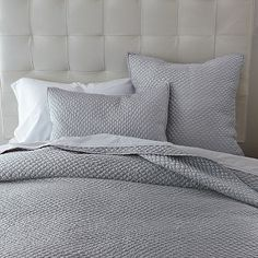 I love this coverlet - but in the cream color. I recommend buying a king-sized coverlet/duvet cover for queen-sized beds. It looks better on the bed. :) Still buy the queen/standard shams, but king-sized duvets/inserts/coverlets. West Elm Bedding, Grey Bedding, Luxury Bedding, Bedding Sets, Grey Sheets, Cozy Bedroom, Master Bedroom, Bedroom Ideas, Teen Bedroom