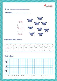 Fișe de lucru - Scrierea cifrelor și a numerelor Numbers Preschool, Math 2, Preschool Learning Activities, Worksheets, Printables, Teaching, Creative, David, Ely