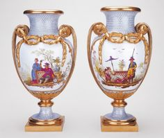 Vases belonging to Marie Antoinette. Painted with chinoiserie scenes and exotic birds, this pair of vases was purchased by Marie Antoinette, a demanding and capricious patron of the Sèvres manufactory, in December 1779, at the end-of-year sale held at Versailles. Given her taste at the time for white and gold interior decorative schemes and oriental lacquer, these vases, with their chinoiserie themes and finely chased mounts, would have fitted well in her luxuriously appointed apartments.