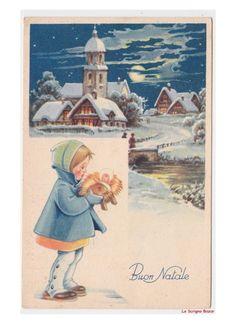 paesaggi invernali chiesa cartolina Natale vintage bambina Gesù statua presepe