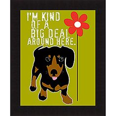 @Overstock - Pet lovers are sure to delight in this hilarious framed dog print. Each image is individually produced and uniquely different. The print has been dry mounted on to hardboard which helps keep the image flat and is coated in a clear resin.http://www.overstock.com/Home-Garden/Ginger-Oliphant-Big-Deal-Framed-Print/6418159/product.html?CID=214117 $37.99