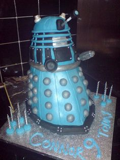 cake ideas  http://globalgeeknews.com/wp-content/uploads/2011/06/Blue-Dalek-Doctor-Who-Birthday-Cake.jpeg