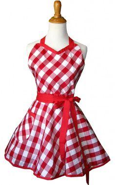 5 SASSY Sweetheart Retro Aprons ~ Sweetheart Red Gingham ... #valentine's day #wedding wishlist #bridal shower gift