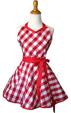 5 SASSY Sweetheart Retro Aprons ~ Sweetheart Red Gingham ... #holiday #gift
