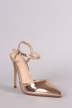 This lovely pointy toe silhouette, open shanks, single sole, and wrapped stiletto heel. Finished with a lightly padded insole, adjustable ankle strap with buckl Leather Men, Patent Leather, Stiletto Pumps, Pump Shoes, Fashion Boutique, Ankle Strap, Kitten Heels, Accessories, Mirror