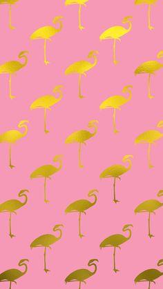 Gold Flamingo iPhone Wallpaper