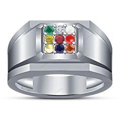 0.27Ct Multi-Stones in 14kt White Gp 925 Silver (9-Stone) Navratna Men's Ring #aonebianco #NavratnaRingMensRing