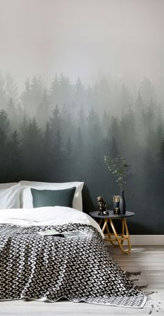 Tapeten-Wandbild Tiefgr ner Ombr -Wald Murals Wallpaper Tapeten-Wandbild Tiefgr ner Ombr -Wald Murals Wallpaper Kerstin Wilhelmdottir Eyecatching Wallpaper Einer der gr ten Trends in der Wandgestaltung sind nbsp hellip Tree Wallpaper Living Room, Forest Wallpaper, Wallpaper Murals, Wallpaper Ideas, Bedroom Wallpaper Nature, Flower Wallpaper, Forest Bedroom, Mountain Bedroom, Forest Mural