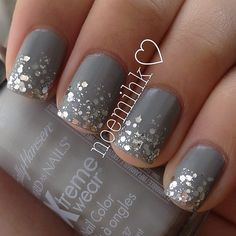 Dark Grey and Silver Glitter Ombre Gradient Matte Top Coat | Spring Summer Fancy Nails Evening