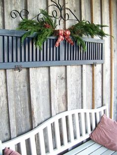 Christmas Decor from a discarded shutter. would be great inside for the holidays. Christmas Decor from a discarded shutter. would be great inside for the holidays. Old Shutters, Wooden Shutters, Window Shutters, Bedroom Shutters, Kitchen Shutters, All Things Christmas, Christmas Crafts, Christmas Decorations, Holiday Decor