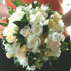 W47 Bouquet, White Roses, Oldacre, Hand tied, Bridal, Wedding.