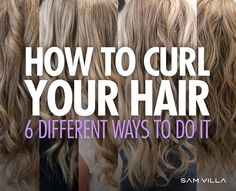 Discover how to curl you hair 6 different ways, using a curling iron and a flat iron. Waves, spiral curls and ribbon curls, and match more! Curling Fine Hair, Curling Hair With Flat Iron, Hair Curling Tips, Flat Iron Curls, Curling Iron Hairstyles, Curled Hairstyles, How To Curl Hair With Flat Iron, Spiral Curling Iron, Hairdos