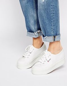 Buy Superga 2790 White Flatform Trainers at ASOS. Get the latest trends with ASOS now. Superga Outfit, Superga Sneakers, Shoes Sneakers, White Platform Sneakers, Platform Shoes, Fashion Mode, Look Fashion, Asos, Wedges