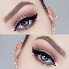 gold lid, taupe crease blended into warm brown, black winged liner @itsgenesys | #smokey neutral makeup #eyeliner