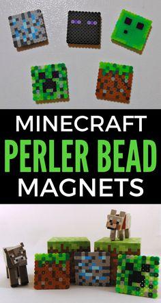Easy Minecraft Perler Bead Magnets