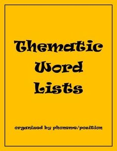 Free! Thematic Word Lists Organized by Phoneme/Position 22 pages!!