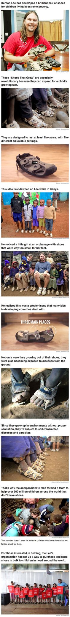 Sometimes, the simplest invention can change millions of lives. That's the goal of The Shoe That Grows, a sandal invented by inventor Kenton Lee that can adjust its size, allowing children in impoverished nations to grow up without having to go barefoot. The shoes, which come in catch-all Small and Large sizes, can grow 5 sizes and last at least 5 years.