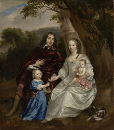 Govert van Slingelandt lord of Dubbeldam. With his first wife Christina van Beveren and their two sons by Jan Mijtens, Museum of the Netherlands Familieportret van Govert van. Potrait Painting, Family Painting, Dutch Golden Age, Amsterdam, Historical Art, Cavalier King Charles, Charles Spaniel, Old Master, Museum