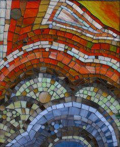 "Stained Glass Mosaic Patterns | Dreamscape , stained glass mosaic on board, 12 1/4"" x 10"", 2008 SOLD"