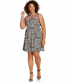 Follow me on Instagram @thezaftigfashionista  Love Squared Plus Size Sleeveless Printed A-Line Dress