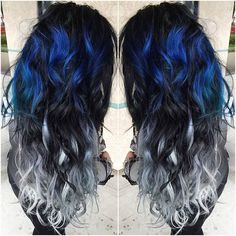 Blue and Silver Ombre Colorful Indian Remy Clip in Hair Extensions - - Blue and Silver Ombre Hair Color Extensions for Black hair girl~ Amazing new look~ Vpfashion new hair style come~ - - Ombre Hair Color, Cool Hair Color, Ombre Style, Balayage Color, Hair Color Ideas For Black Hair, Unique Hair Color, Hot Hair Colors, Balayage Hair, Silver Ombre Hair