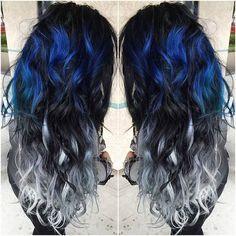 29 blue hair color ideas for daring women - Midnight Blue Black Hair Color