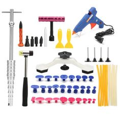 How to use this paintless dent repair kits? Using this PDR dent repair kit without damaging the surface of your car! pc Puller bridge with pc pulling tabs. Auto Body Collision Repair, Slide Hammer, Kit Cars, Goods And Service Tax, St Kitts And Nevis, Tool Kit, Automobile, Tools, Car Repair