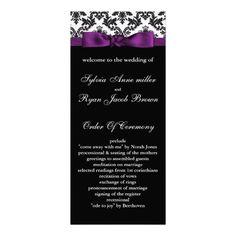 damask border purple Wedding program Custom Rack Card