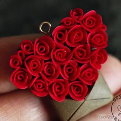 learn how to make a polymer clay love letter pendant in this mini tutorial. You can also find step-by-step tutorial in m Polymer Clay Kunst, Polymer Clay Kawaii, Polymer Clay Flowers, Polymer Clay Pendant, Fimo Clay, Polymer Clay Projects, Polymer Clay Charms, Polymer Clay Jewelry, Clay Crafts