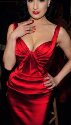 Luscious Red ~ Dita wearing a Gorgeous Ruby Red Dress