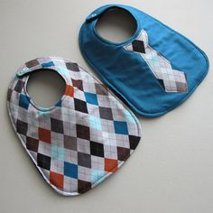 Baby Bib boy tie Infant 2 pack Gift Set Argyle by TurnbowDesigns, $8.00